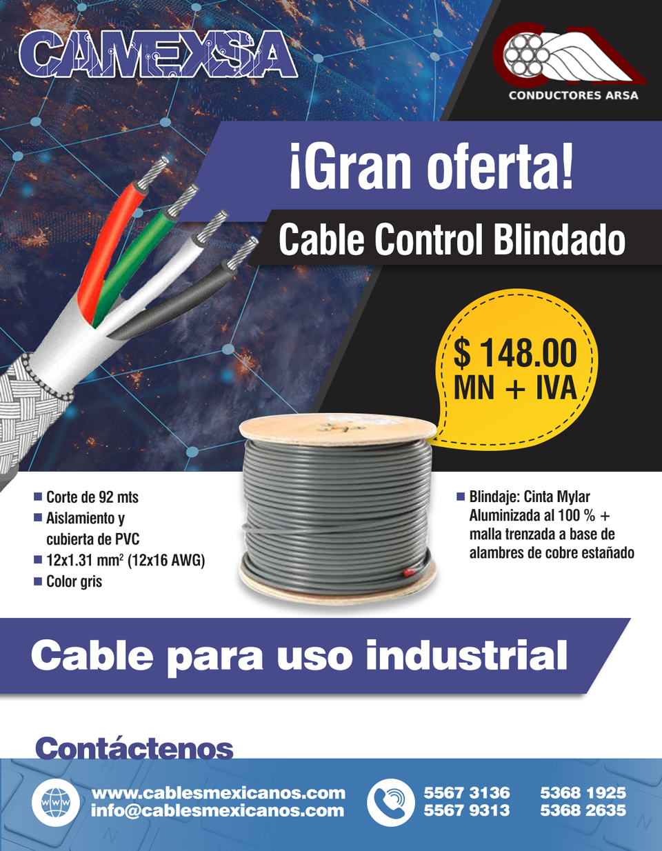 Cable Control Blindado Arsa