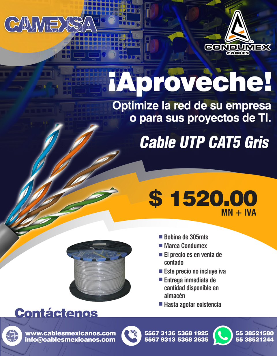 Cable UTP CAT5 Condumex